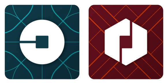 Uber's new rider icon (left) and partner icon (right).